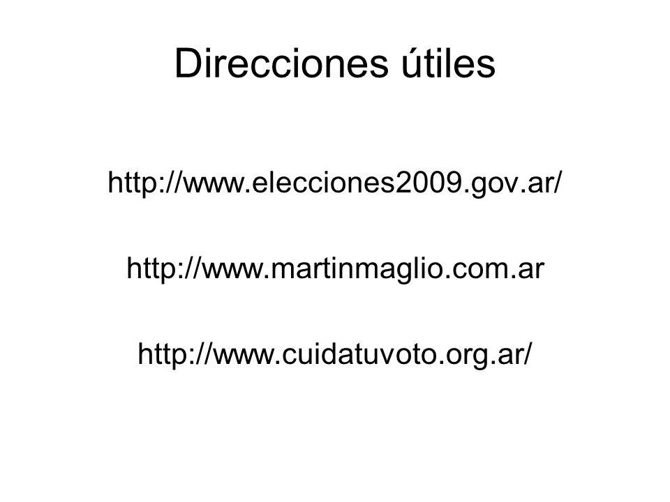 Direcciones útiles http://www.elecciones2009.gov.ar/ http://www.martinmaglio.com.ar http://www.cuidatuvoto.org.ar/