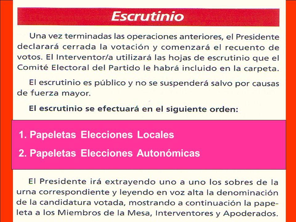 1.Papeletas Elecciones Locales 2.Papeletas Elecciones Autonómicas