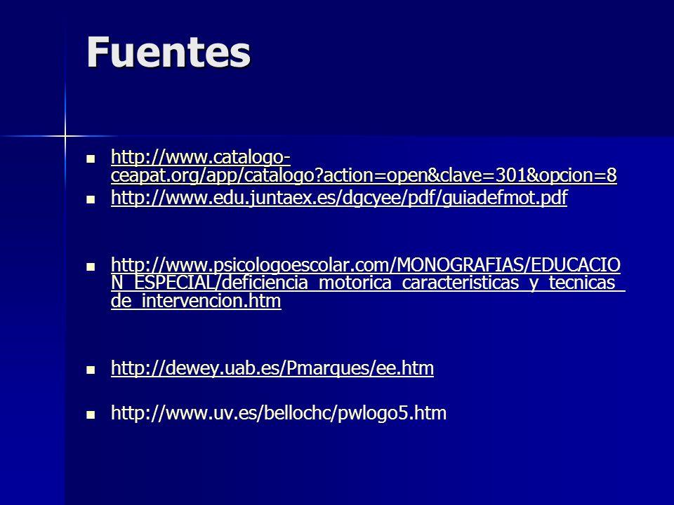 Fuentes http://www.catalogo- ceapat.org/app/catalogo?action=open&clave=301&opcion=8 http://www.catalogo- ceapat.org/app/catalogo?action=open&clave=301&opcion=8 http://www.catalogo- ceapat.org/app/catalogo?action=open&clave=301&opcion=8 http://www.catalogo- ceapat.org/app/catalogo?action=open&clave=301&opcion=8 http://www.edu.juntaex.es/dgcyee/pdf/guiadefmot.pdf http://www.psicologoescolar.com/MONOGRAFIAS/EDUCACIO N_ESPECIAL/deficiencia_motorica_caracteristicas_y_tecnicas_ de_intervencion.htm http://www.psicologoescolar.com/MONOGRAFIAS/EDUCACIO N_ESPECIAL/deficiencia_motorica_caracteristicas_y_tecnicas_ de_intervencion.htm http://dewey.uab.es/Pmarques/ee.htm http://www.uv.es/bellochc/pwlogo5.htm