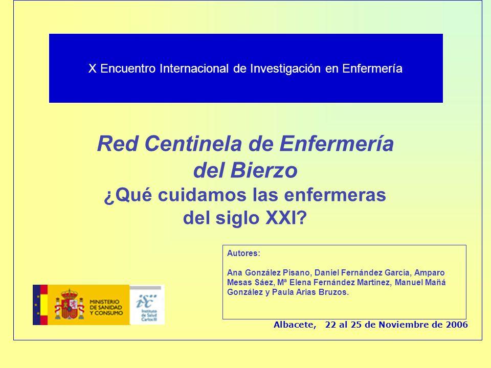 Red Centinela de Enfermería del Bierzo ¿Qué cuidamos las enfermeras del siglo XXI? Albacete, 22 al 25 de Noviembre de 2006 Autores: Ana González Pisan