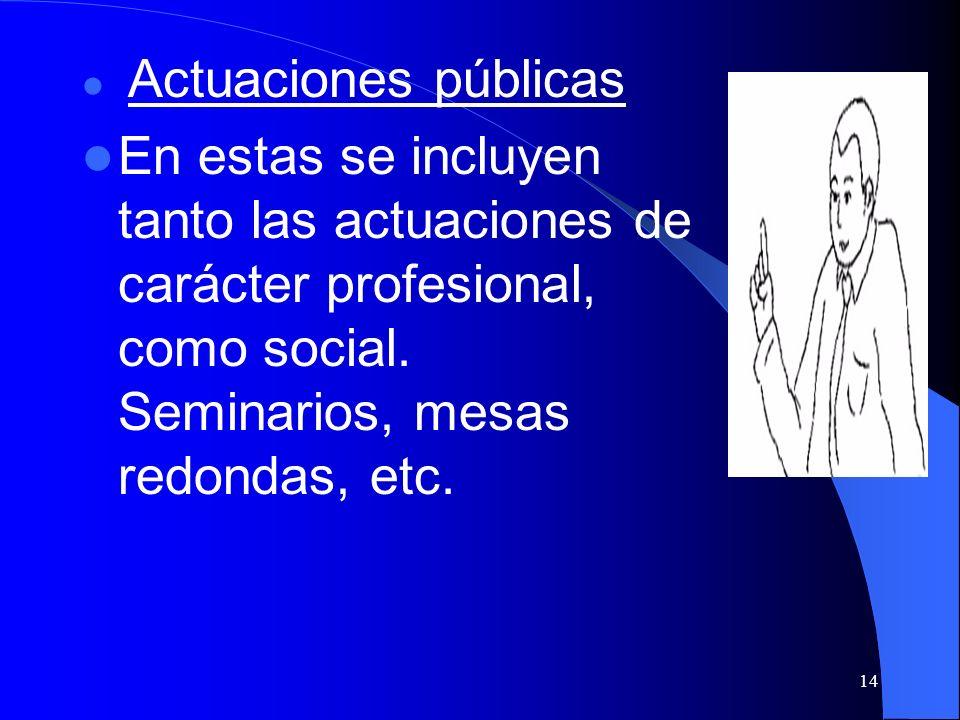 14 Actuaciones públicas En estas se incluyen tanto las actuaciones de carácter profesional, como social. Seminarios, mesas redondas, etc.