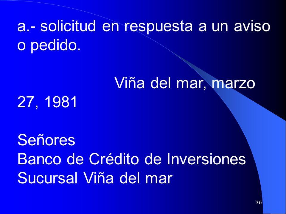 36 a.- solicitud en respuesta a un aviso o pedido. Viña del mar, marzo 27, 1981 Señores Banco de Crédito de Inversiones Sucursal Viña del mar