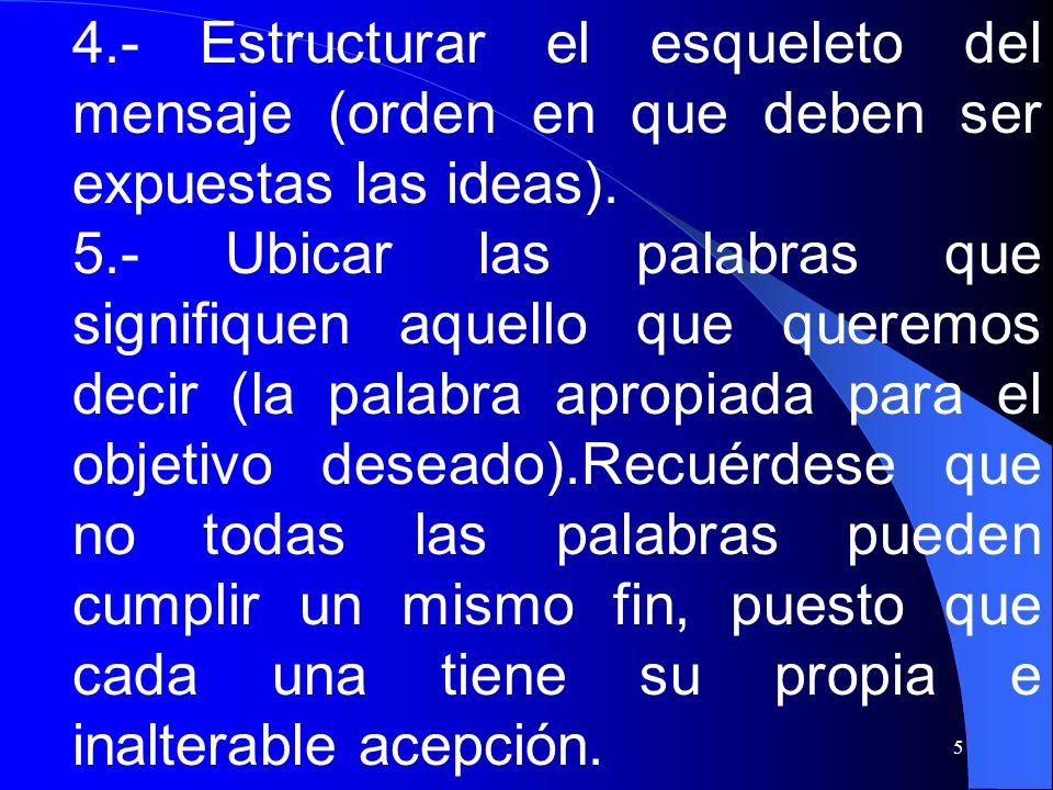 5 4.- Estructurar el esqueleto del mensaje (orden en que deben ser expuestas las ideas). 5.- Ubicar las palabras que signifiquen aquello que queremos