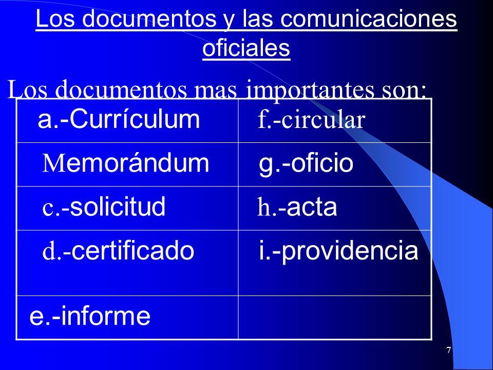 7 Los documentos y las comunicaciones oficiales Los documentos mas importantes son: a.-Currículum f.-circular M emorándum g.-oficio c.- solicitud h.-