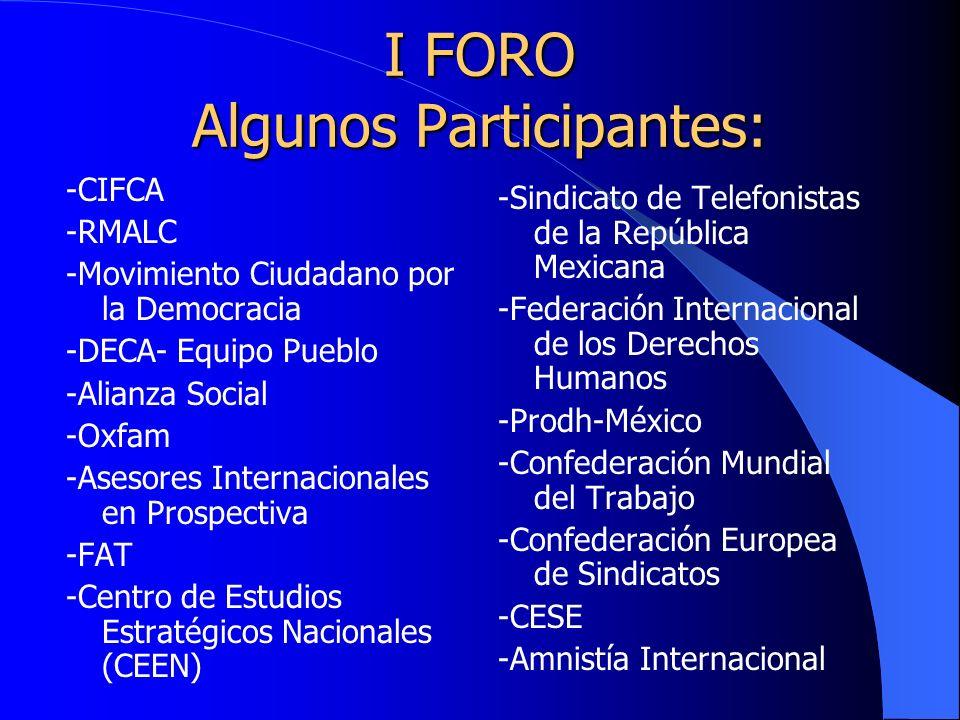 I FORO Algunos Participantes: -CIFCA -RMALC -Movimiento Ciudadano por la Democracia -DECA- Equipo Pueblo -Alianza Social -Oxfam -Asesores Internacionales en Prospectiva -FAT -Centro de Estudios Estratégicos Nacionales (CEEN) -Sindicato de Telefonistas de la República Mexicana -Federación Internacional de los Derechos Humanos -Prodh-México -Confederación Mundial del Trabajo -Confederación Europea de Sindicatos -CESE -Amnistía Internacional
