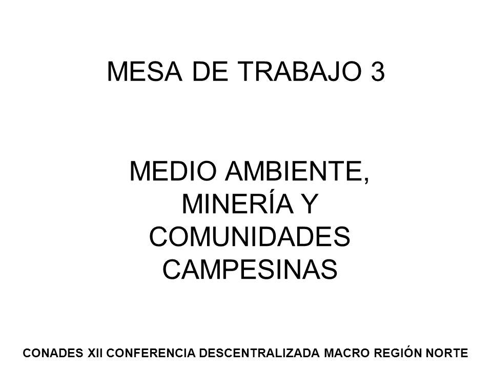 MESA DE TRABAJO 3 MEDIO AMBIENTE, MINERÍA Y COMUNIDADES CAMPESINAS CONADES XII CONFERENCIA DESCENTRALIZADA MACRO REGIÓN NORTE