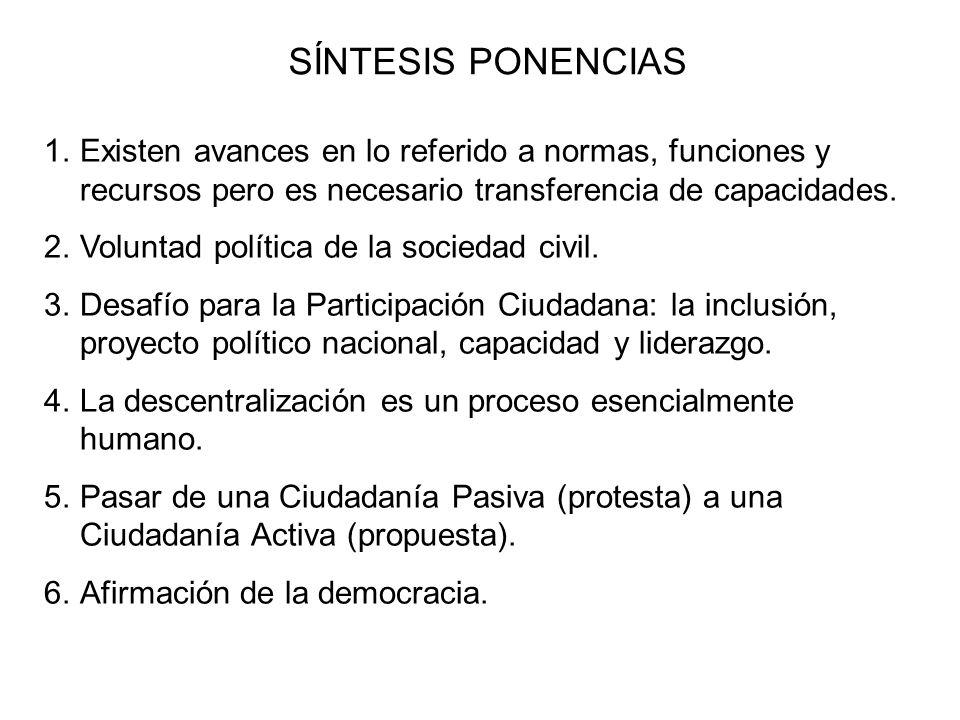 SÍNTESIS PONENCIAS 1.Existen avances en lo referido a normas, funciones y recursos pero es necesario transferencia de capacidades. 2.Voluntad política