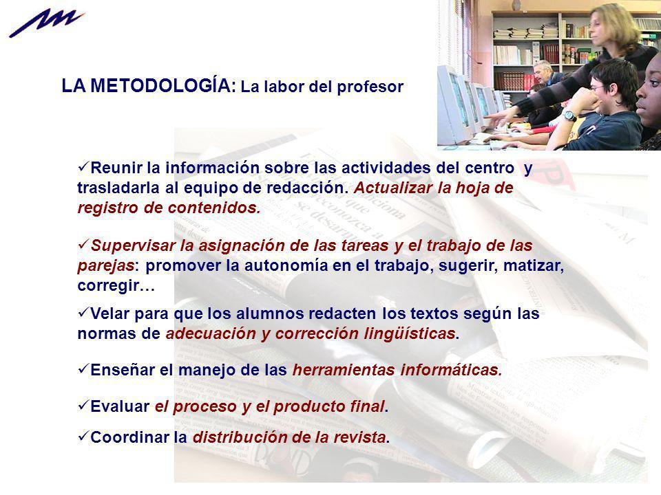 LA METODOLOGÍA: La labor del profesor Reunir la información sobre las actividades del centro y trasladarla al equipo de redacción. Actualizar la hoja