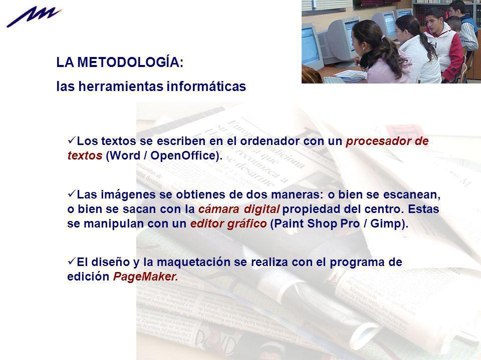 LA METODOLOGÍA: las herramientas informáticas Los textos se escriben en el ordenador con un procesador de textos (Word / OpenOffice). Las imágenes se