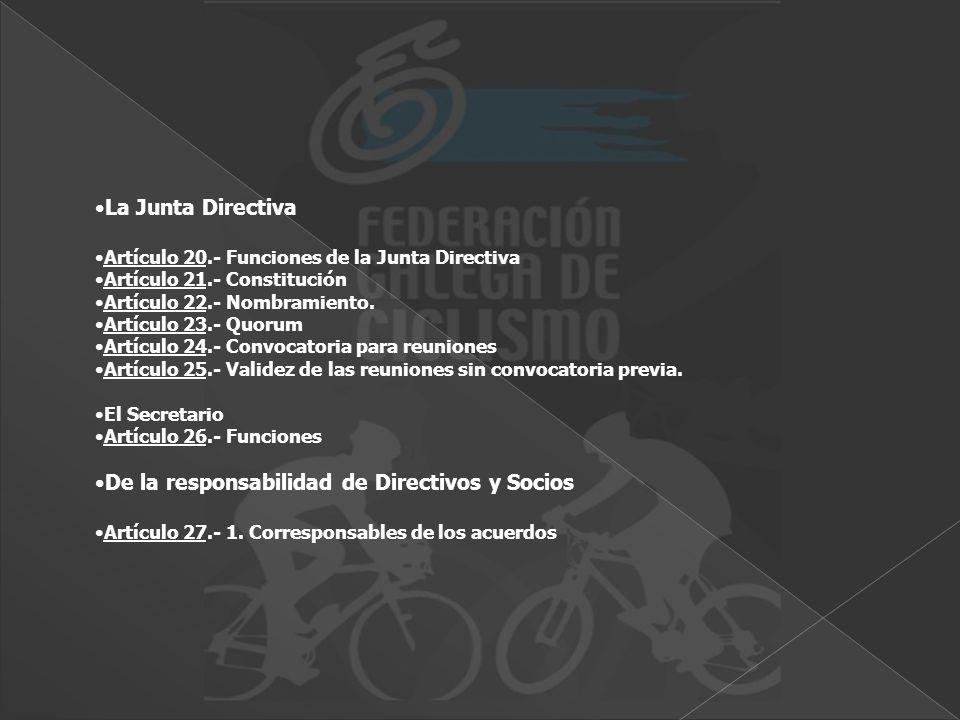 La Junta Directiva Artículo 20.- Funciones de la Junta Directiva Artículo 21.- Constitución Artículo 22.- Nombramiento. Artículo 23.- Quorum Artículo