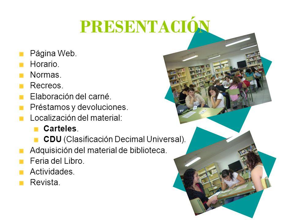 PÁGINA WEB DE LA BIBLIOTECA En la página Web del Instituto Proyectos Fomento de la lectura.