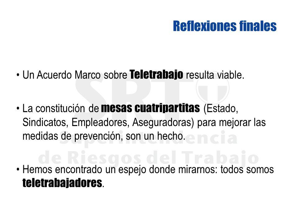 Un Acuerdo Marco sobre Teletrabajo resulta viable. La constitución de mesas cuatripartitas (Estado, Sindicatos, Empleadores, Aseguradoras) para mejora