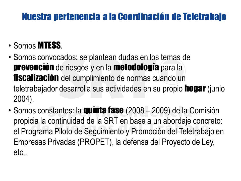 Nuestra pertenencia a la Coordinación de Teletrabajo Somos MTESS. Somos convocados: se plantean dudas en los temas de prevención de riesgos y en la me