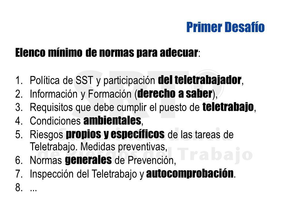 Elenco mínimo de normas para adecuar : 1. Política de SST y participación del teletrabajador, 2.Información y Formación ( derecho a saber ), 3.Requisi