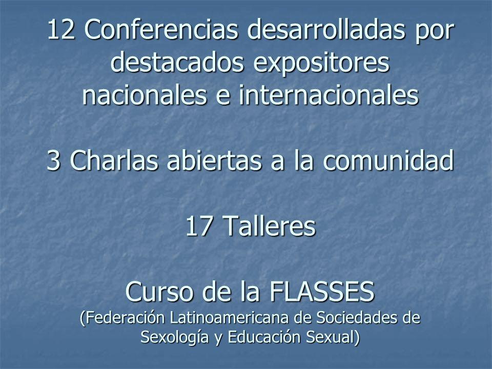 12 Conferencias desarrolladas por destacados expositores nacionales e internacionales 3 Charlas abiertas a la comunidad 17 Talleres Curso de la FLASSE