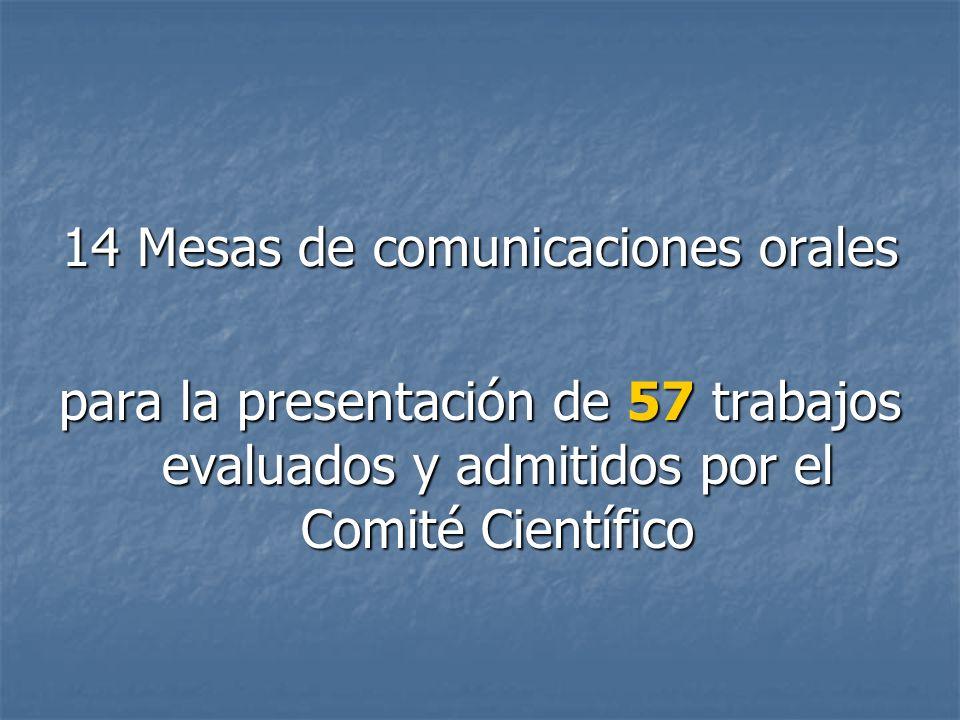 14 Mesas de comunicaciones orales para la presentación de 57 trabajos evaluados y admitidos por el Comité Científico