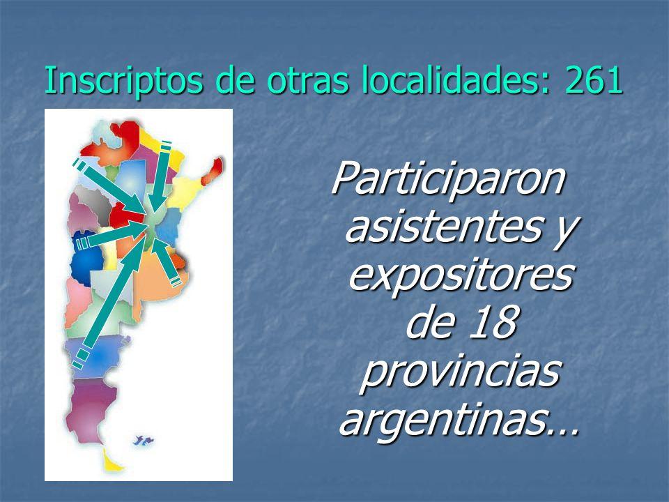 Inscriptos de otras localidades: 261 Participaron asistentes y expositores de 18 provincias argentinas…
