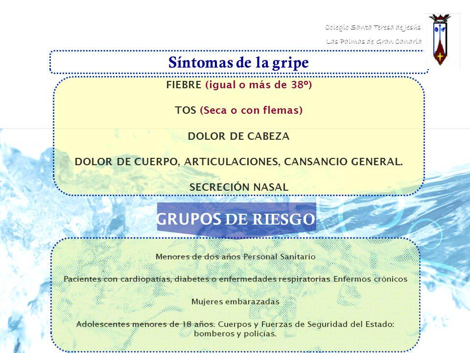 Síntomas de la gripe FIEBRE (igual o más de 38º) TOS (Seca o con flemas) DOLOR DE CABEZA DOLOR DE CUERPO, ARTICULACIONES, CANSANCIO GENERAL. SECRECIÓN