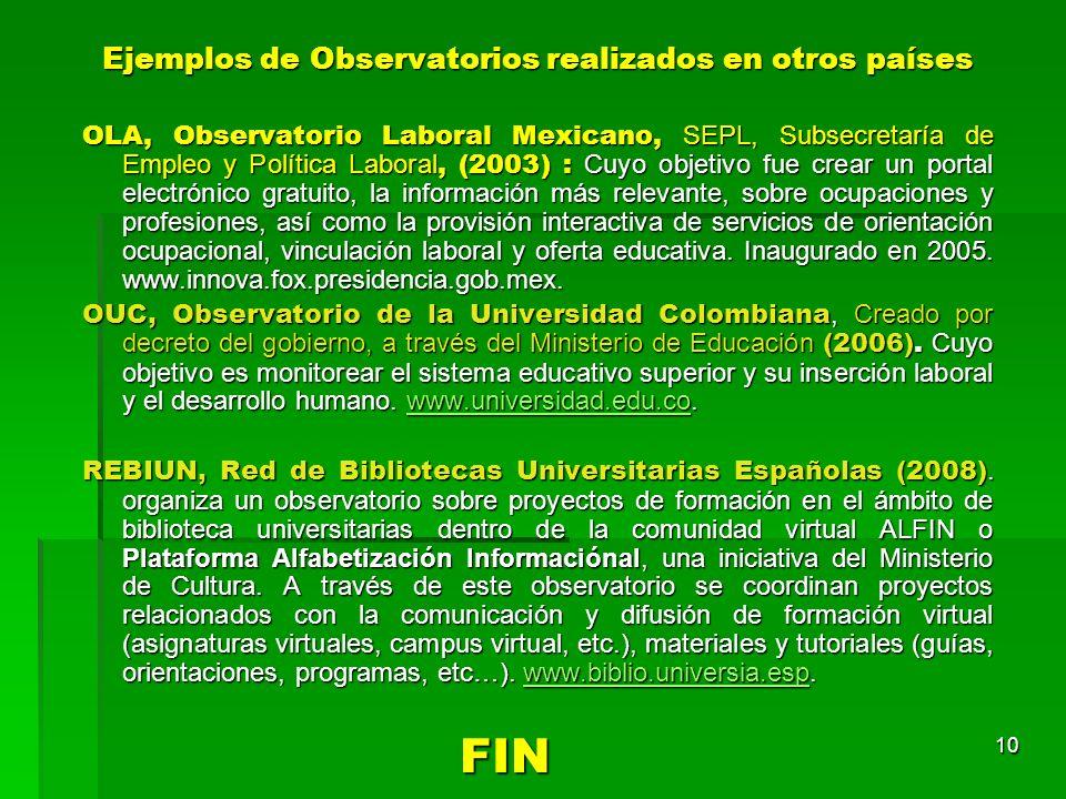 Ejemplos de Observatorios realizados en otros países OLA, Observatorio Laboral Mexicano, SEPL, Subsecretaría de Empleo y Política Laboral, (2003) : Cu