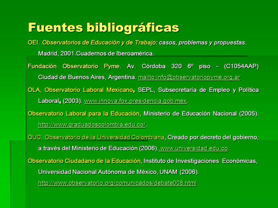Fuentes bibliográficas OEI. Observatorios de Educación y de Trabajo: casos, problemas y propuestas. Madrid, 2001.Cuadernos de Iberoamérica. Fundación