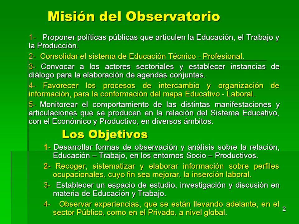 Misión del Observatorio 1- Proponer políticas públicas que articulen la Educación, el Trabajo y la Producción. 2- Consolidar el sistema de Educación T