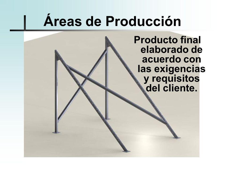 Áreas de Producción Producto final elaborado de acuerdo con las exigencias y requisitos del cliente.
