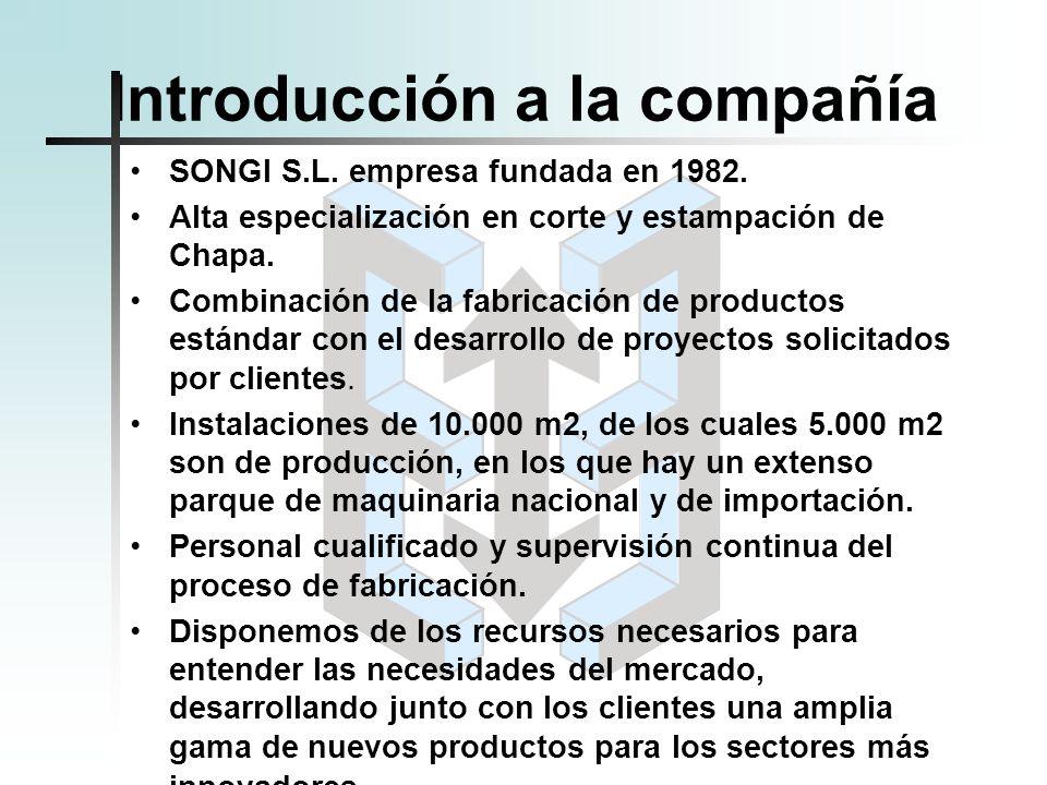 Introducción a la compañía SONGI S.L. empresa fundada en 1982. Alta especialización en corte y estampación de Chapa. Combinación de la fabricación de