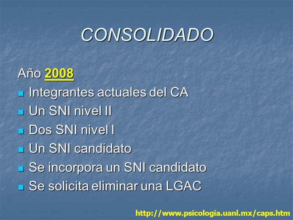 CONSOLIDADO Año 2008 Integrantes actuales del CA Integrantes actuales del CA Un SNI nivel II Un SNI nivel II Dos SNI nivel I Dos SNI nivel I Un SNI ca