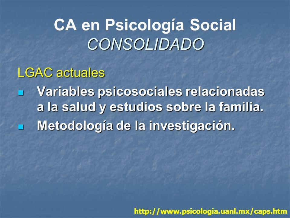 CONSOLIDADO CA en Psicología Social CONSOLIDADO LGAC actuales Variables psicosociales relacionadas a la salud y estudios sobre la familia. Variables p