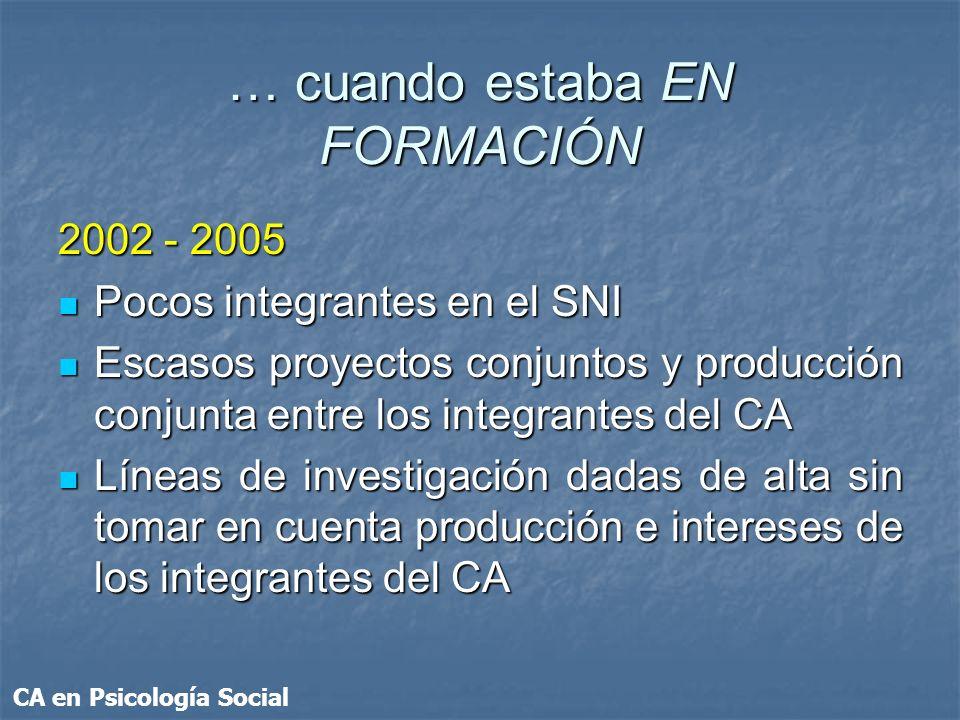 … cuando estaba EN FORMACIÓN 2002 - 2005 Pocos integrantes en el SNI Pocos integrantes en el SNI Escasos proyectos conjuntos y producción conjunta ent