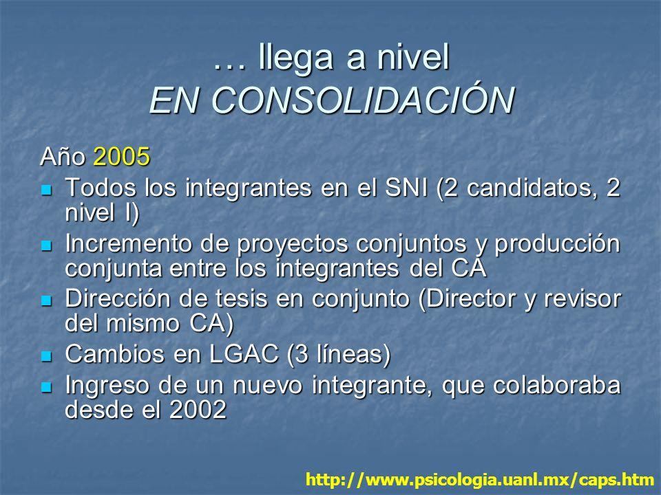 … llega a nivel EN CONSOLIDACIÓN Año 2005 Todos los integrantes en el SNI (2 candidatos, 2 nivel I) Todos los integrantes en el SNI (2 candidatos, 2 n