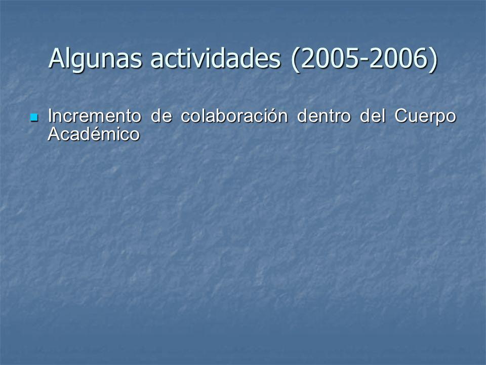 Algunas actividades (2005-2006) Incremento de colaboración dentro del Cuerpo Académico Incremento de colaboración dentro del Cuerpo Académico