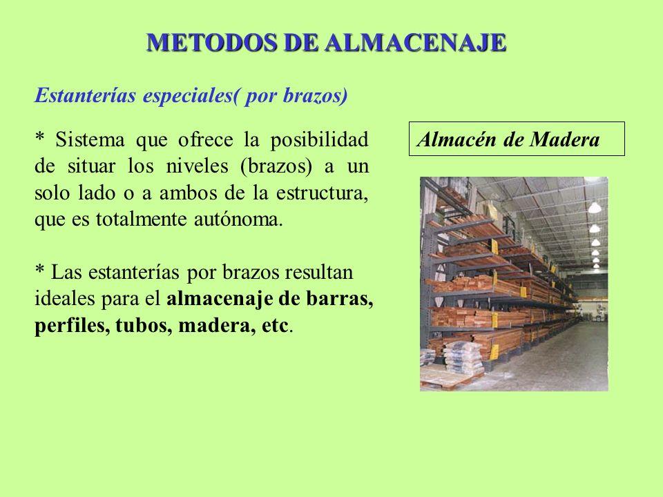 METODOS DE ALMACENAJE Estanterías especiales( por brazos) * Sistema que ofrece la posibilidad de situar los niveles (brazos) a un solo lado o a ambos