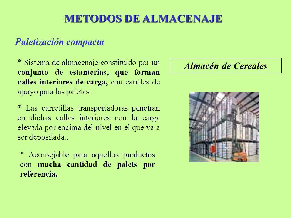 METODOS DE ALMACENAJE Paletización compacta Almacén de Cereales * Sistema de almacenaje constituido por un conjunto de estanterías, que forman calles