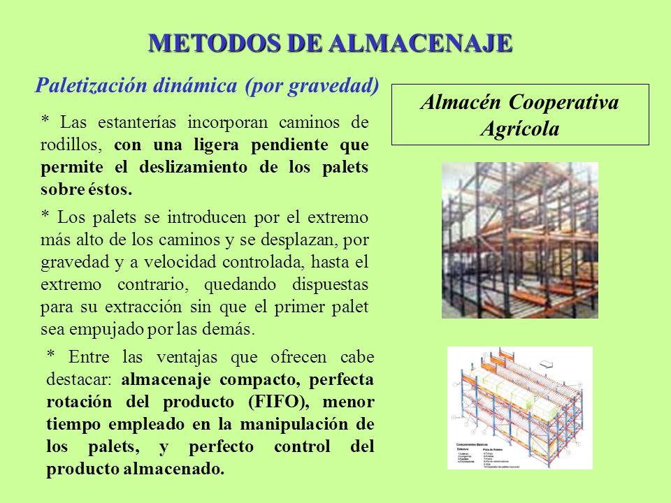 METODOS DE ALMACENAJE Paletización dinámica (por gravedad) Almacén Cooperativa Agrícola * Las estanterías incorporan caminos de rodillos, con una lige