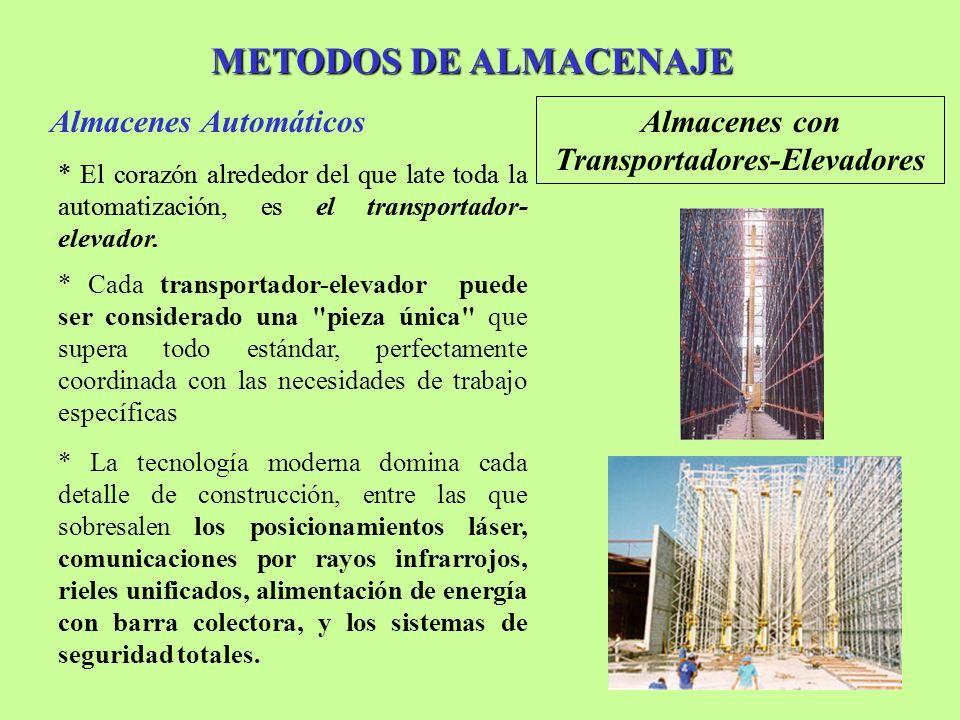 METODOS DE ALMACENAJE Almacenes Automáticos Almacenes con Transportadores-Elevadores * El corazón alrededor del que late toda la automatización, es el