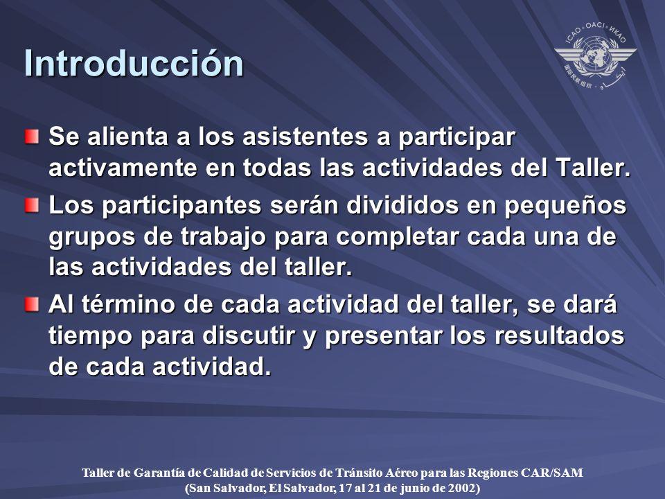 Taller de Garantía de Calidad de Servicios de Tránsito Aéreo para las Regiones CAR/SAM (San Salvador, El Salvador, 17 al 21 de junio de 2002) Introducción Se alienta a los asistentes a participar activamente en todas las actividades del Taller.