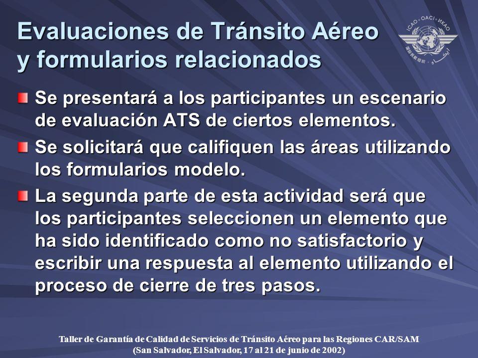 Taller de Garantía de Calidad de Servicios de Tránsito Aéreo para las Regiones CAR/SAM (San Salvador, El Salvador, 17 al 21 de junio de 2002) Evaluaciones de Tránsito Aéreo y formularios relacionados Se presentará a los participantes un escenario de evaluación ATS de ciertos elementos.