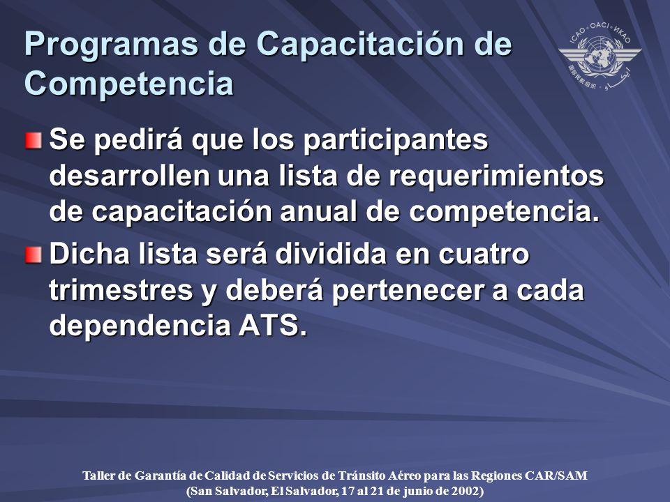 Taller de Garantía de Calidad de Servicios de Tránsito Aéreo para las Regiones CAR/SAM (San Salvador, El Salvador, 17 al 21 de junio de 2002) Programas de Capacitación de Competencia Se pedirá que los participantes desarrollen una lista de requerimientos de capacitación anual de competencia.