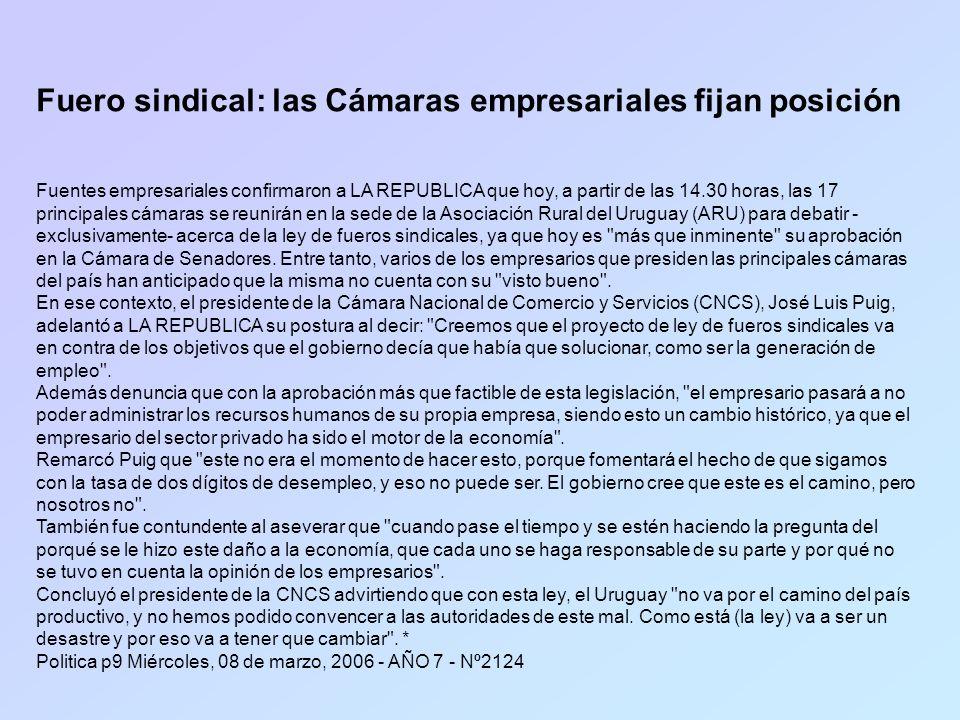 Fuero sindical: las Cámaras empresariales fijan posición Fuentes empresariales confirmaron a LA REPUBLICA que hoy, a partir de las 14.30 horas, las 17