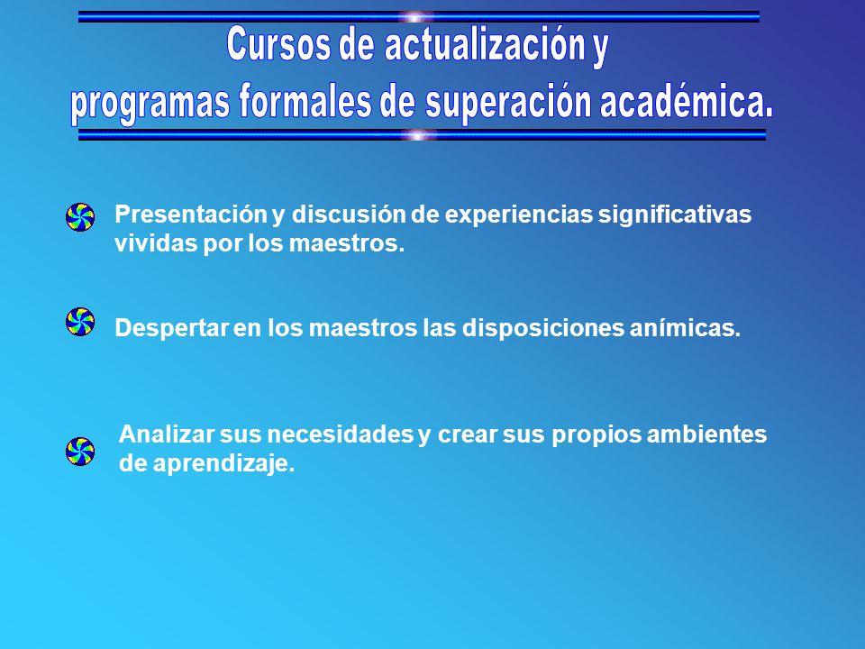 Presentación y discusión de experiencias significativas vividas por los maestros.