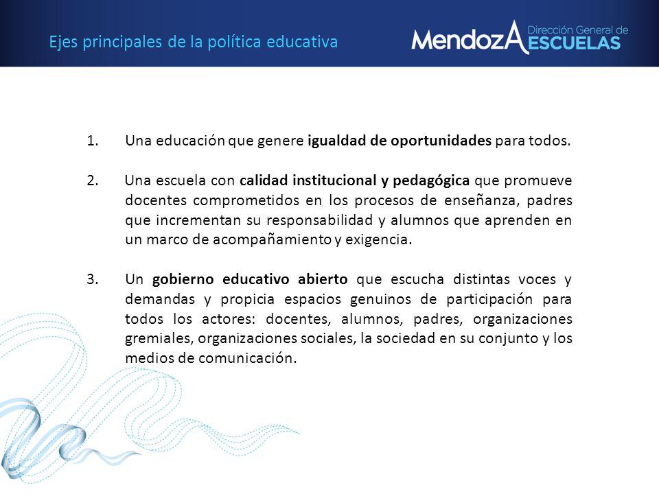 Ejes principales de la política educativa 1.Una educación que genere igualdad de oportunidades para todos. 2. Una escuela con calidad institucional y