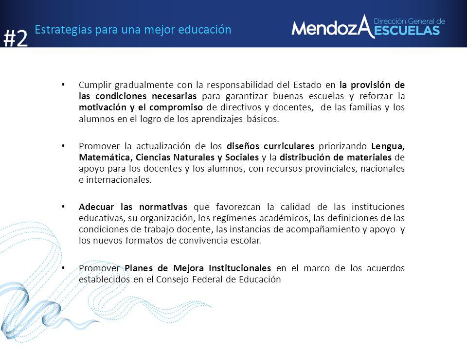 Estrategias para una mejor educación Cumplir gradualmente con la responsabilidad del Estado en la provisión de las condiciones necesarias para garanti