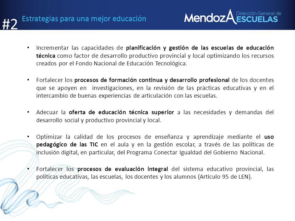 Estrategias para una mejor educación Incrementar las capacidades de planificación y gestión de las escuelas de educación técnica como factor de desarr