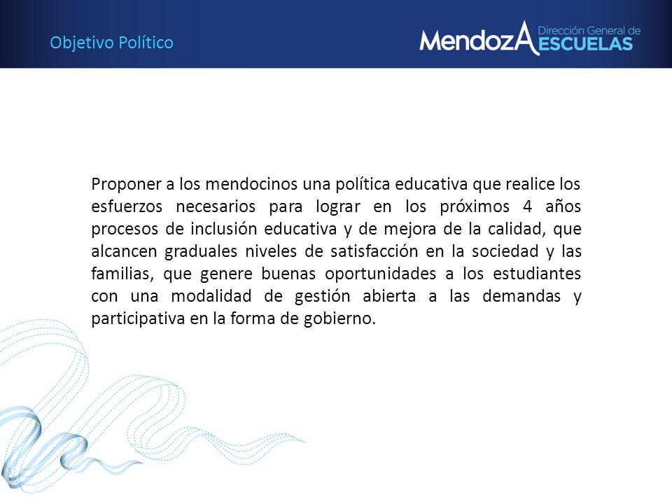 Objetivo Político Proponer a los mendocinos una política educativa que realice los esfuerzos necesarios para lograr en los próximos 4 años procesos de