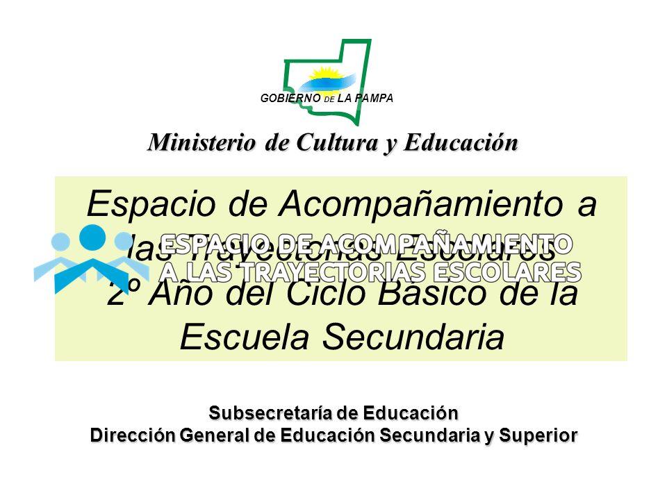 Ministerio de Cultura y Educación GOBIERNO DE LA PAMPA Subsecretaría de Educación Dirección General de Educación Secundaria y Superior Espacio de Acom