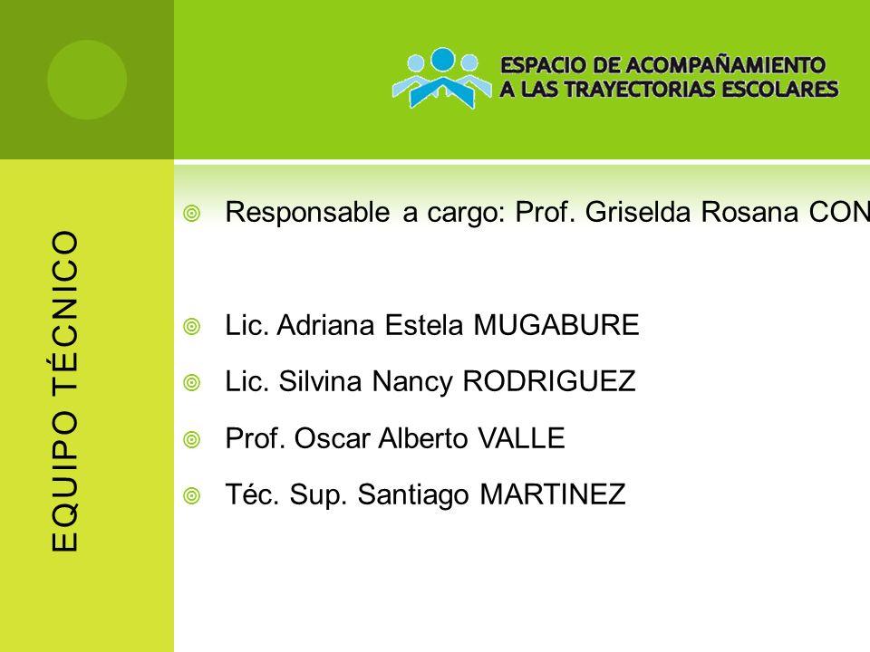 EQUIPO TÉCNICO Responsable a cargo: Prof. Griselda Rosana CONDE Lic. Adriana Estela MUGABURE Lic. Silvina Nancy RODRIGUEZ Prof. Oscar Alberto VALLE Té