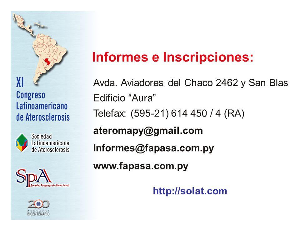 Avda. Aviadores del Chaco 2462 y San Blas Edificio Aura Telefax: (595-21) 614 450 / 4 (RA) ateromapy@gmail.com Informes@fapasa.com.py www.fapasa.com.p
