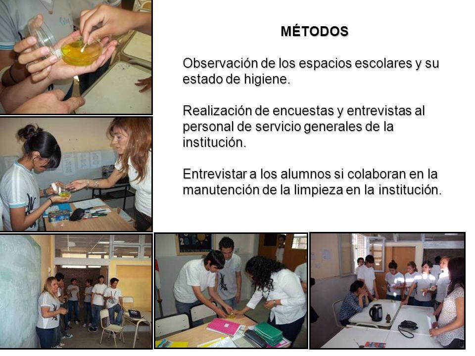 MÉTODOS Observación de los espacios escolares y su estado de higiene. Realización de encuestas y entrevistas al personal de servicio generales de la i