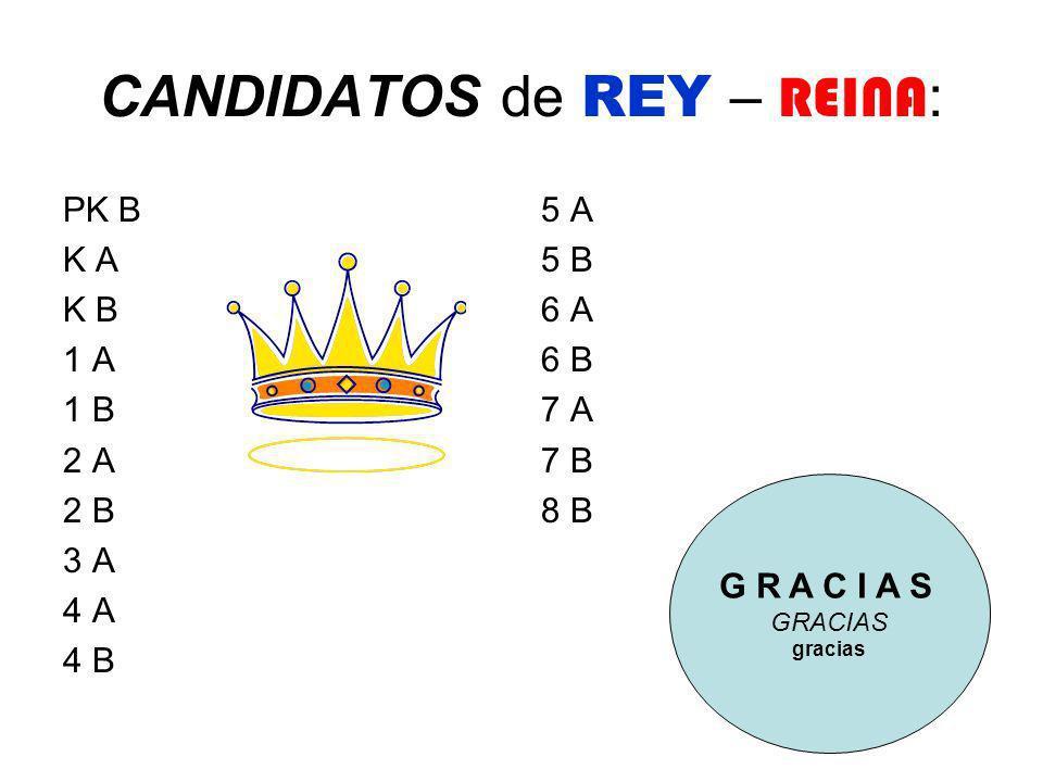 CANDIDATOS de REY – REINA : PK B K A K B 1 A 1 B 2 A 2 B 3 A 4 A 4 B 5 A 5 B 6 A 6 B 7 A 7 B 8 B G R A C I A S gracias